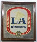 "Vintage 1987 Anheuser Busch LA Beer 17 1/2"" x 20"" Wood Framed Glass Advertising Mirror Pub Lounge Bar Collectible"