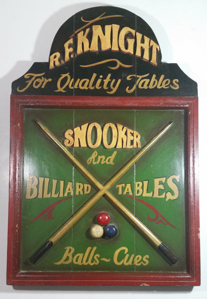 "Vintage R.F. Knight ""For Quality Tables"" Snooker and Billiards Tables Balls ~ Cues Wooden Pool Table Wall Hanging Advertisement"