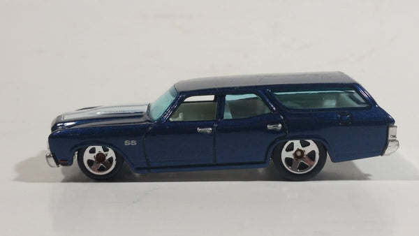 2009 Hot Wheels 1970 Chevrolet Chevelle SS Wagon Blue Die Cast Toy Car Vehicle