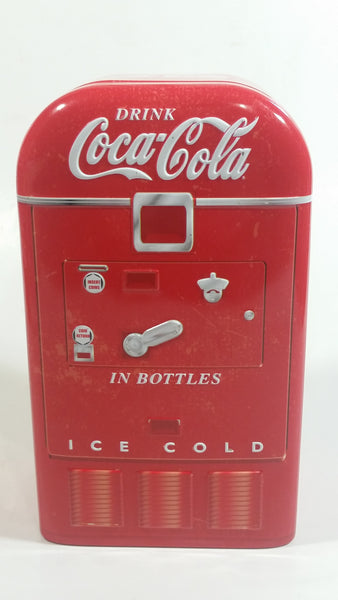 Drink Coca-Cola In Bottles Ice Cold Coke Soda Pop Red Refrigerator Vending Machine Shaped Tin Metal Beverage Collectible