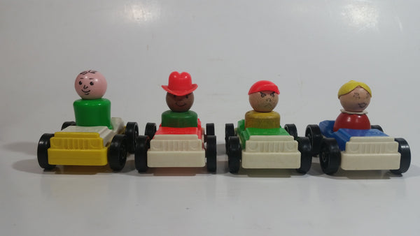 Vintage Fisher Price Little People Set of 4 Cars with Metal Axles and Set of 4 Characters 3 of Which Are Wooden