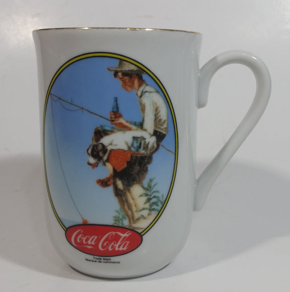Vintage Norman Rockwell Coca Cola Coke Collection Boy Fishing With Dog Gold Trimmed Porcelain Coffee Cup