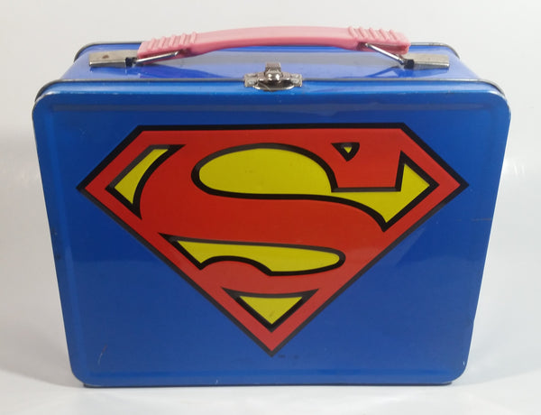 DC Comics Blue Superman Tin Metal Lunch Box Superhero Collectible
