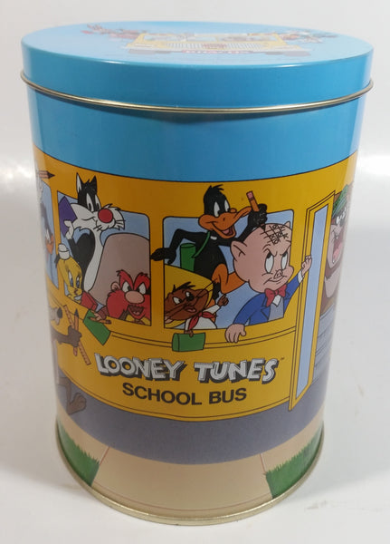 1990 Warner Bros Looney Tunes School Bus Brach's Jelly Beans Tin Canister Cartoon Collectible