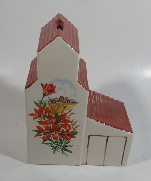 Vintage Saskatchewan Prairie Lily Provincial Flower Ceramic Grain Elevator Coin Bank Prairie Western Collectible