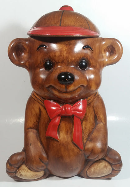"Vintage Treasure Craft Cute Brown Teddy Bear Wearing a Baseball Cap Hat 13"" Tall Ceramic Cookie Jar Made in U.S.A."