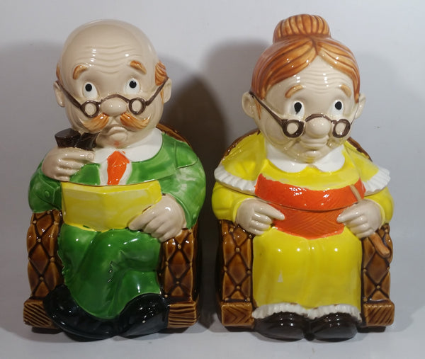 "Vintage Cute Set of Grandma and Grandpa in Rocking Chairs 11"" Tall Ceramic Cookie Jars Made in Japan"