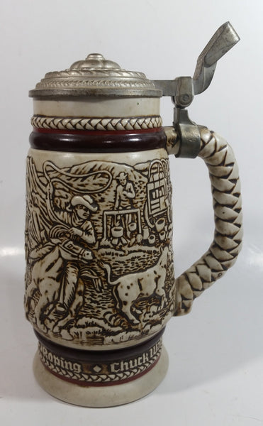 1981 Avon Western Roping, Chuck Wagon, Cattle Drive Ceramic Beer Stein with Lid