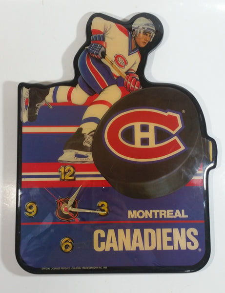 "1989 NHL Ice Hockey Team Montreal Canadiens Lacquered Wood Clock 11 1/2"" x 11 1/4"""
