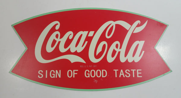 "Vintage Style Coca-Cola ""Sign of Good Taste"" Green and Red 7"" x 13"" Fishtail Shaped Galvanized Metal Sign"