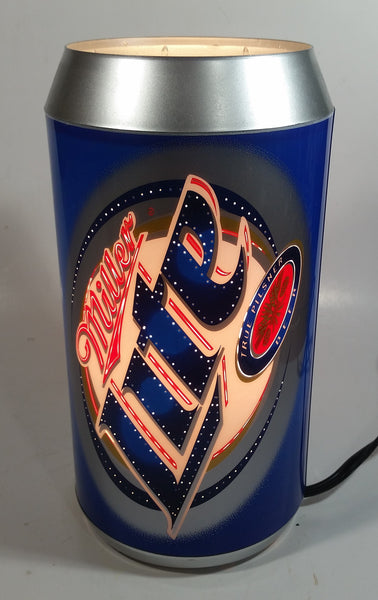 "2004 Miller Brewing Co. Miller Lite True Pilsner Beer 10"" Tall Beer Can Shaped Rotating Plug In Electric Lamp Light"