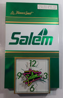 "1992 Salem Tobacco ""Flavour Seal"" Green and White Clock Advertising Sign Cigarettes Smoking Collectible"