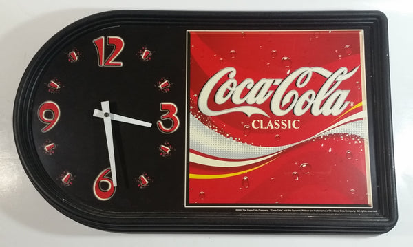 "2003 Coca-Cola Coke Soda Pop Red and Black Collector's Clock 12"" x 20"""