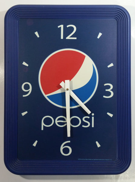 "Pepsi Cola Soda Pop Blue Restaurant Clock 14"" x 18 1/2"" Soft Drink Beverage Collectible"