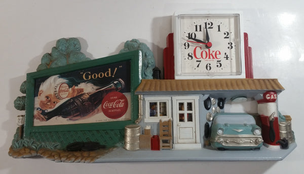 "1990 Drink Coca-Cola In Bottles Coke Soda Pop Sprite Boy 50's Style Service Garage Gas Station Collector's Clock 14"" x 18 1/2"" Soft Drink Beverage Collectible"