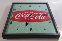 "Vintage Drink Coca-Cola Coke Green White Sunbeam Red Fishtail Logo 14"" x 16"" Wood Framed Clock Beverage Collectible"