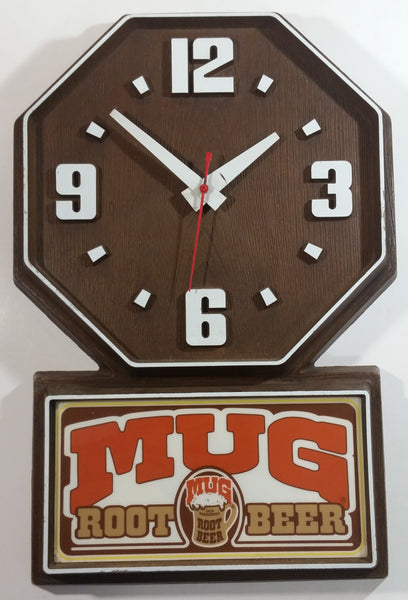 "Vintage A & W Mugs Root Beer Soda Pop 19 3/4"" x 13 1/4"" Plastic Framed Restaurant Electric Plugin Clock Beverage Collectible"
