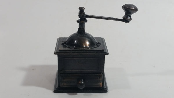 Miniature Coffee Grinder Metal Pencil Sharpener Doll House Furniture Size with Turning Handle and Opening Drawer