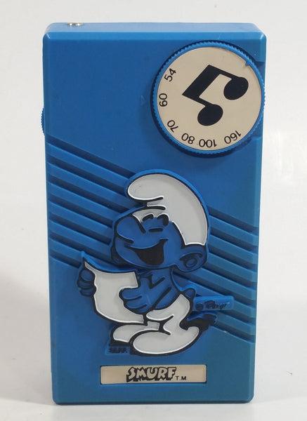 Vintage 1981 Peyo Nasta Blue Smurf's Handheld AM Transistor Radio with Waste Clip