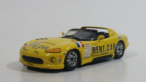 Burago Dodge Viper RT/10 Yellow Rent A Car 1/43 Scale Die Cast Toy #2 Lemans Race Car Vehicle