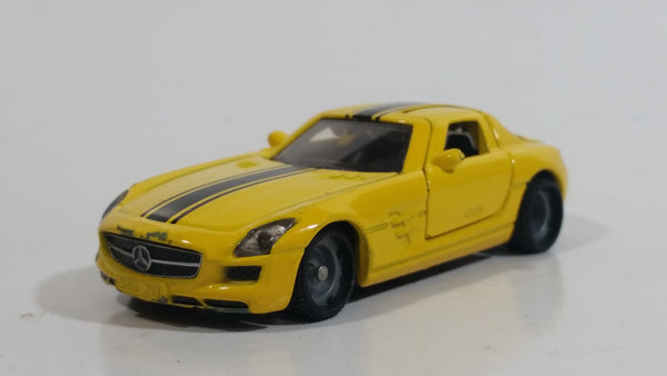 SIKU Mercedes-Benz SLS AMG Yellow Die Cast Toy Luxury Sports Car Vehicle with Opening Gull Wing Doors