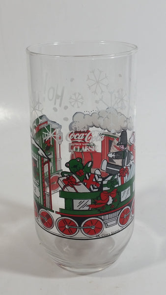 "1980s McCrory Stores Inc Enjoy Coca-Cola Classic Santa Claus Conducting The North Pole Express Train Christmas Holiday Themed 6"" Tall Glass Cup"