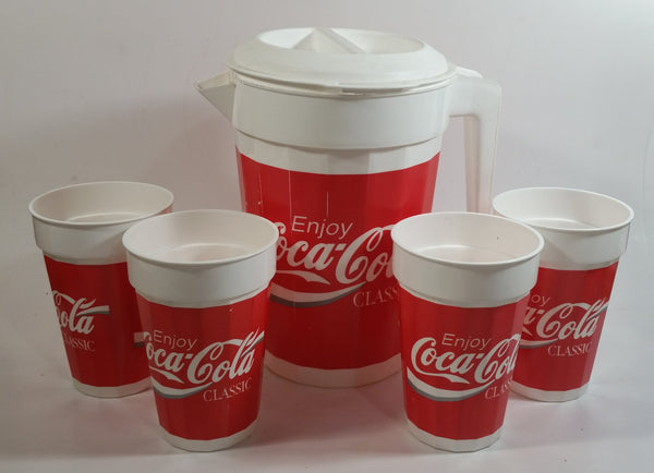 PackerWare Enjoy Coca-Cola Classic Plastic Pitcher with 4 Matching Cups