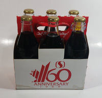 1989 Safeway 60th Anniversary Coca-Cola Classic Soda Pop 6-Pack of Full Never Opened 8 oz. Embossed Logo Glass Bottles with Paper Carrier