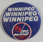 Vintage NHL Winnipeg Jets Ice Hockey Team Round Button Pin Sports Collectible