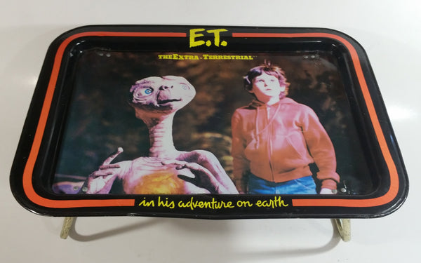 Vintage 1982 Universal City Studios E.T. The Extra Terrestrial in His Adventure On Earth Metal Lunch TV Tray Movie Film Collectible