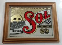 "Rare Cerveceria Moctezuma S.A. Sol Cerveza Especial Mexican Beer 14 1/4"" x 18 1/2"" Wood Framed Glass Mirror Advertisement"