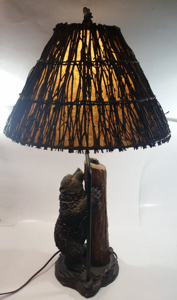 "Cal Lighting Resin Bear and Bee 30"" Tall Lamp Light with Branch Covered Shade"