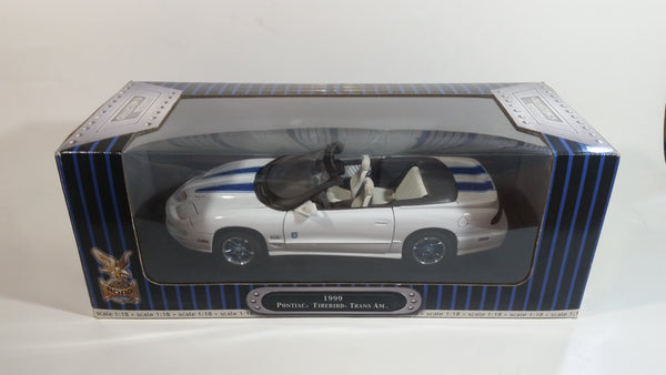 Yatming Road Signature Collector's Edition 1999 Pontiac Firebird Trans Am Convertible White with Blue Stripes 1/18 Scale Die Cast Toy Car Vehicle In Box