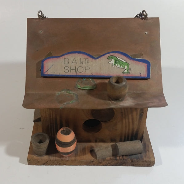Folk Art Bait Shop Building Wooden Model with Copper Metal Roof Fishing Sportsmen Outdoors Cabin Rustic Collectible