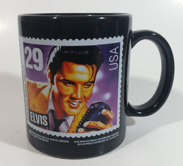 1992 U.S. Postal Service Elvis Presley 29 Cent Stamp Black Ceramic Coffee Mug