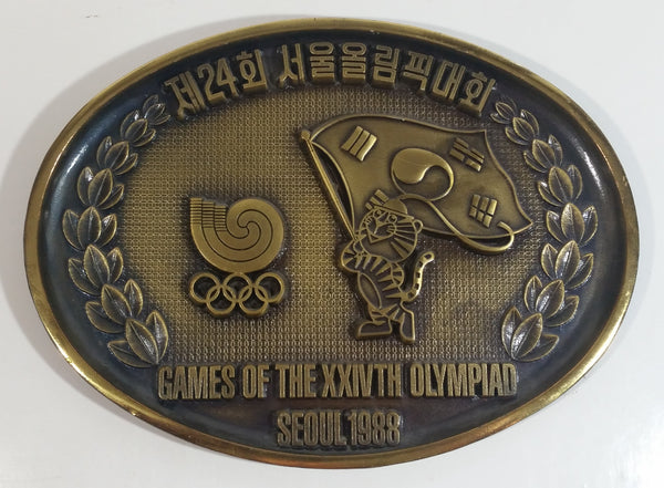 Rare Seoul 1988 Games of the XXIVTH Olympiad Olympics Brass Composite Metal Wall Plaque Hanging