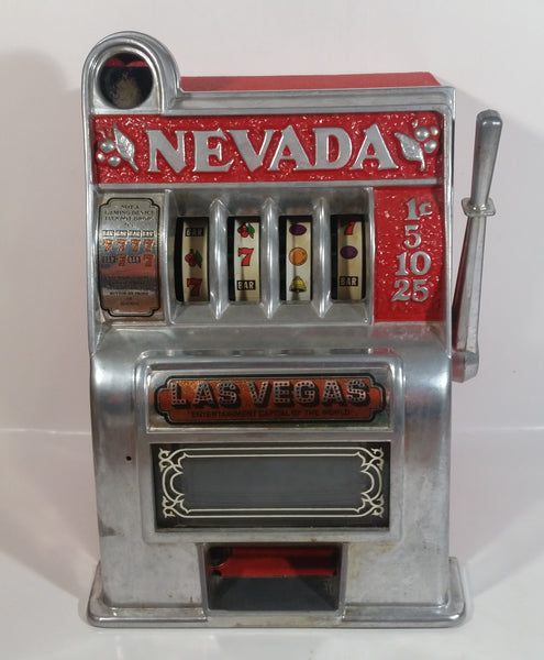 "Vintage Nevada Las Vegas ""Entertainment Capital of the World"" 11"" Tall Metal Coin Bank 4 Wheel"