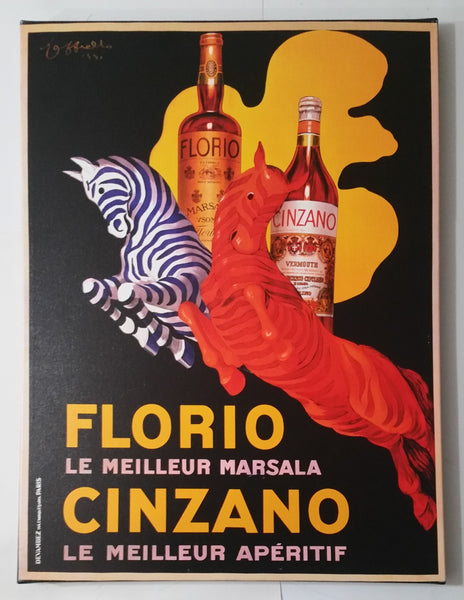 "Florio Le Meilleur Marsala Cinzano Le Meilleur Apertif 24"" x 32"" Canvas Liquor Wall Hanging Advertisement"