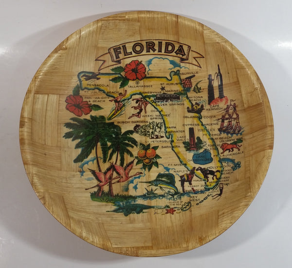 Vintage Florida State Woven Wood Wooden Bowl Souvenir Travel Collectible
