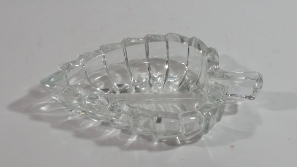 Leaf Shaped Clear Glass Ash Tray Smoking Collectible