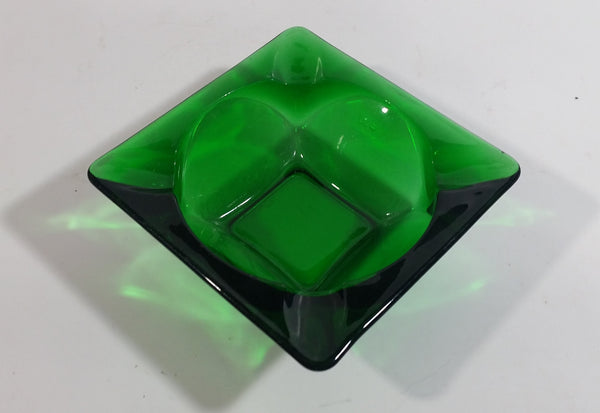Vintage Square Shaped Dark Green Glass Ash Tray Smoking Collectible