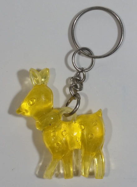 Yellow Plastic Fawn Baby Deer Key Chain
