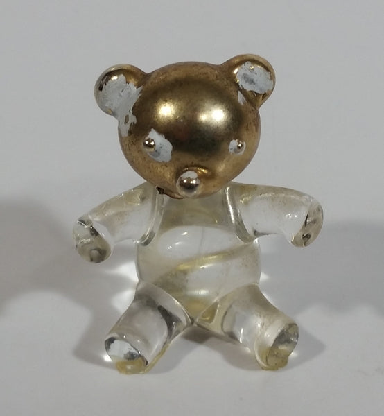 Tiny Miniature Art Glass Bear with Gold Tone Painted Head 1 3/8 inch Tall