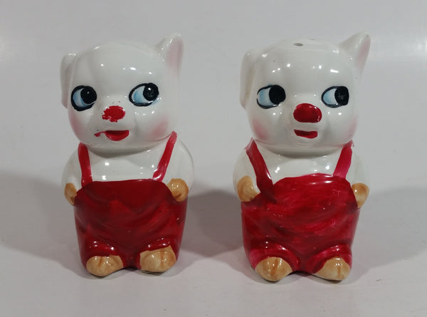 Pigs in Red Overalls Decorative Ceramic Salt and Pepper Shakers