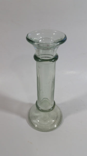 "Vintage 7"" Tall Heavy Glass Candlestick Holder Bud Vase"