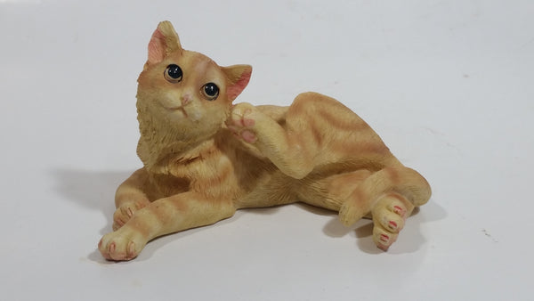 "Orange Striped Cat Scratching its Face 4"" Long Decorative Resin Ornament"