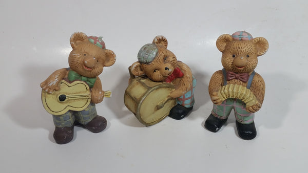 "Vintage Teddy Bear Musical Band Playing Instruments Drummer, Squeeze Accordion, and Guitar Player 4"" Tall Set of 3 Ceramic Figures"