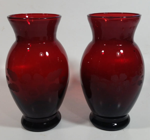 Set of 2 Vintage 1950s Anchor Hocking Ruby Red Glass Etched Flower Vase 6 1/4 inch Tall