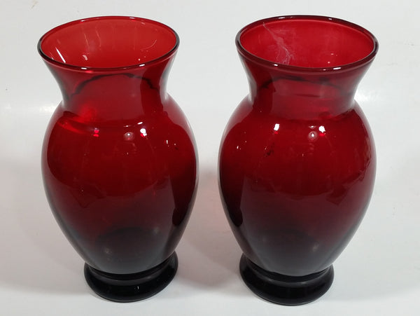 Set of 2 Vintage 1950s Anchor Hocking Ruby Red Glass Flower Vase 6 1/4 inch Tall