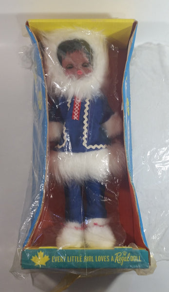 "Vintage 1960s Regal Toys Canada Eskimo Inuit Girl In Blue Parka Jacket 15"" Tall Doll In Box Not Sealed"